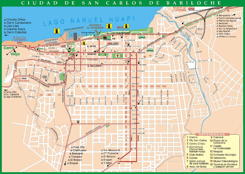 Mapa turístico de Bariloche
