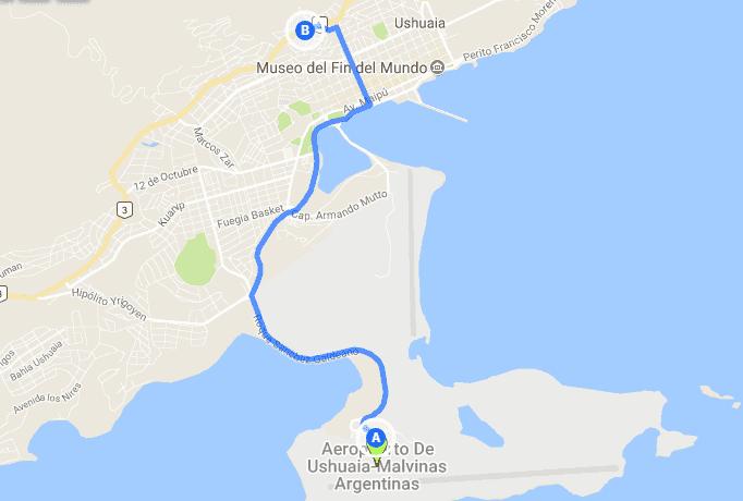 Como ir do aeroporto de Ushuaia até o centro turístico