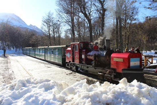 Trem do Fim do Mundo em Ushuaia durante o inverno