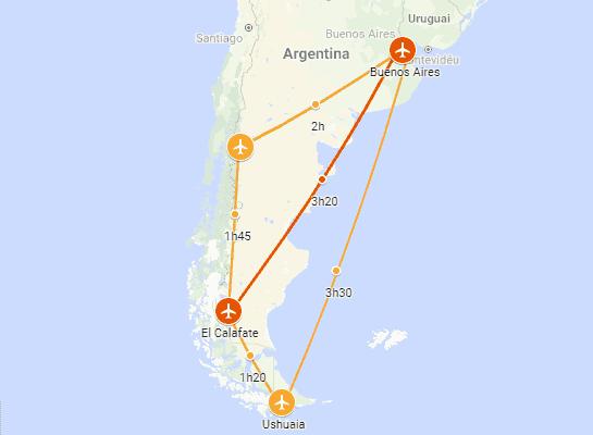 Percurso de Buenos Aires até El Calafate