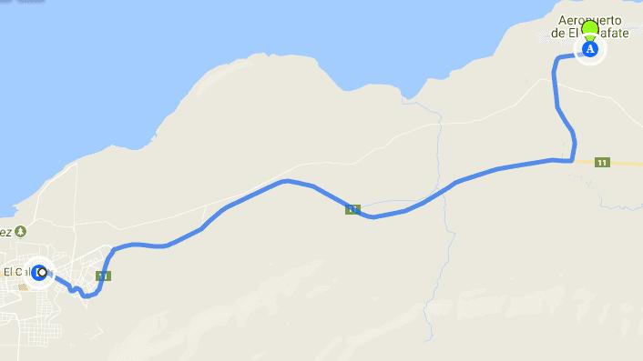 Trajeto do aeroporto de El Calafate até o centro