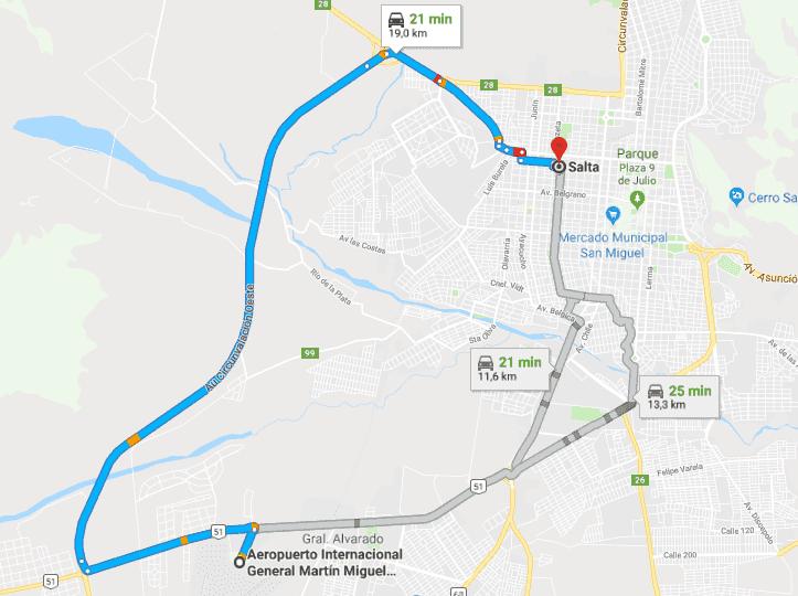 |Trajeto do aeroporto de Salta até o centro