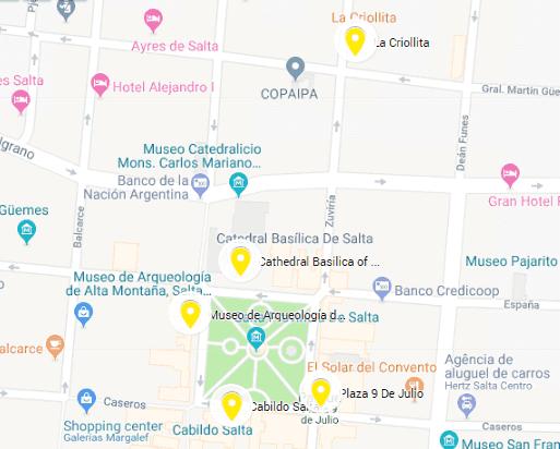 Mapa da região central de Salta, na Argentina